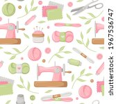 Seamless Pattern With Sewing...
