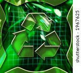 Green abstract graphic background with recycling icon deactivated - stock photo