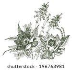 paisley floral design | Shutterstock .eps vector #196763981