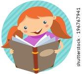 cute girl reading a favorite... | Shutterstock .eps vector #196767941