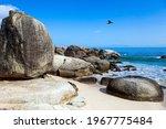 Sandbank With Large Rocks And...