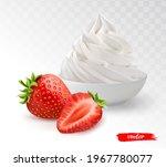 white bowl of whipped cream...   Shutterstock .eps vector #1967780077
