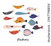 tropic cute set of doodle...   Shutterstock .eps vector #1967798854
