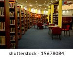 A View Of Rows Of Bookshelves...