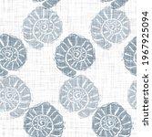 Blue Scallop Shell Block Print...
