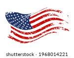 grunge waving american flag... | Shutterstock .eps vector #1968014221