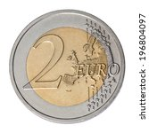 Two Euro Coin Closeup On White...
