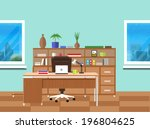 modern office interior with... | Shutterstock .eps vector #196804625