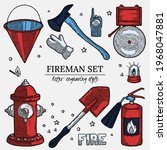 firefighting vintage elements...   Shutterstock .eps vector #1968047881