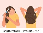 a young woman applies a mask to ... | Shutterstock .eps vector #1968058714