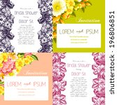 set of invitations with floral...   Shutterstock .eps vector #196806851