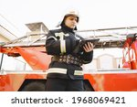 Male Firefighter With Tablet In ...