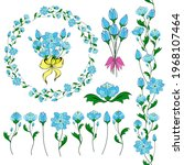 stylized fantasy flowers ...   Shutterstock .eps vector #1968107464