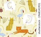 seamless childish jungle... | Shutterstock .eps vector #1968141931