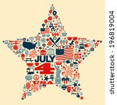4th Of July Icons Symbols...