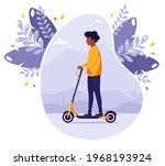 black man riding electric kick...   Shutterstock .eps vector #1968193924
