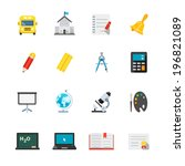 education icons   flat icon set ... | Shutterstock .eps vector #196821089