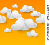 Abstract white clouds made of curved elements on orange background. Cloud computing - stock vector