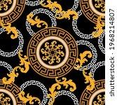 seamless golden baroque pattern ... | Shutterstock .eps vector #1968214807