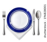 empty plate with spoon  knife... | Shutterstock .eps vector #196828001