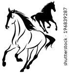 horse black and white outline... | Shutterstock . vector #196839287