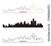 detroit skyline linear style... | Shutterstock . vector #196846451