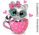 cute cartoon raccoon with a bow ... | Shutterstock .eps vector #1968488371