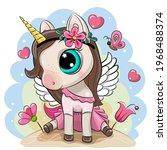 cute cartoon unicorn in a pink... | Shutterstock .eps vector #1968488374