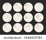 set of circle gold kintsugi... | Shutterstock .eps vector #1968525781