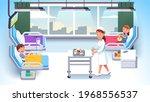 ill girl and injured boy kids... | Shutterstock .eps vector #1968556537