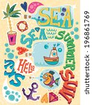 summer holiday creative... | Shutterstock .eps vector #196861769