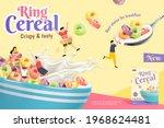 3d crispy and tasty ring cereal ... | Shutterstock .eps vector #1968624481
