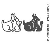 puppy and cat line and solid... | Shutterstock .eps vector #1968648934