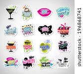 summer party labels and... | Shutterstock .eps vector #196868741