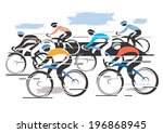cycle race peleton colorful...   Shutterstock .eps vector #196868945