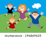 happy family of four jumping... | Shutterstock . vector #196869635