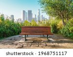 An Empty Bench In A Los Angeles ...