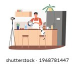 food blogger cooking meal and...   Shutterstock .eps vector #1968781447