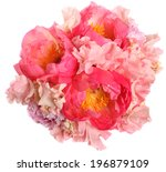 pink wedding bouquet with peony | Shutterstock . vector #196879109