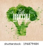poster lettering eat broccoli... | Shutterstock .eps vector #196879484