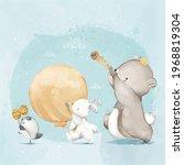 animal painting cute wildlife... | Shutterstock .eps vector #1968819304