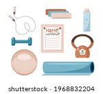 home and gym workout tools set. ... | Shutterstock .eps vector #1968832204