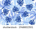 Vector Image Of Blue Leaves On...