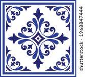 blue and white porcelain flower ... | Shutterstock .eps vector #1968847444