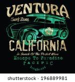 vintage surf and car poster | Shutterstock .eps vector #196889981