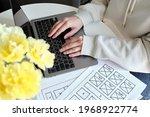 woman designer create website...