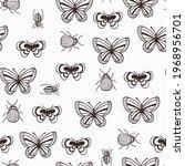 bugs and butterflies seamless... | Shutterstock .eps vector #1968956701
