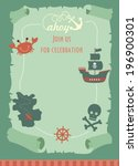 pirate party invitation card... | Shutterstock .eps vector #196900301
