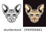 sphinx cat head vector in two... | Shutterstock .eps vector #1969006861