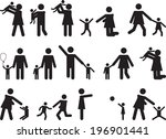 pictogram people with kids... | Shutterstock .eps vector #196901441